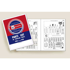 Excellent reproduction of 1945-1958 Willys Jeep parts list including part numbers and drawings.