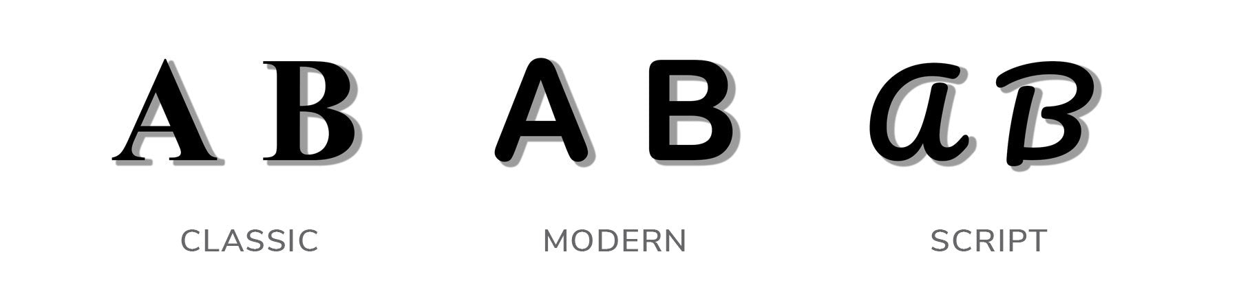 Choose your font: Classic, Modern or Script