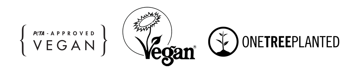 PETA approved, Vegan Society and One Tree Planted logos