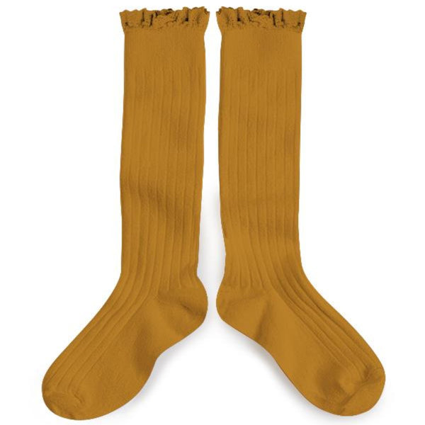 Ruffle Knee-High Socks-Socks-Collegien-6-12 months-Mustard-sawyer + crew-Baby Clothing-Kids Clothes-Toddler Clothes