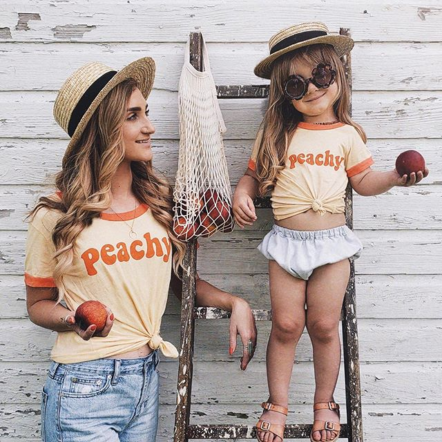 Mama + Me PEACHY tee-Tops-Sawyer and Crew-online baby shop- online boutique for kids-sawyer + crew-Baby Clothing-Kids Clothes-Toddler Clothes- cute newborn clothing-clothing for babies- mommy and me-twinning tees-graphic tees for moms and kids-online boutique for babies-boho clothes for kids-online store for kids-organic clothing for babies