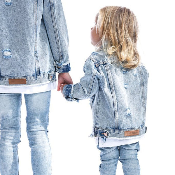 Distressed Denim Jacket-Tops-Beau Hudson-online baby shop- online boutique for kids-sawyer + crew-Baby Clothing-Kids Clothes-Toddler Clothes- cute newborn clothing-clothing for babies- mommy and me-twinning tees-graphic tees for moms and kids-online boutique for babies-boho clothes for kids-online store for kids-organic clothing for babies