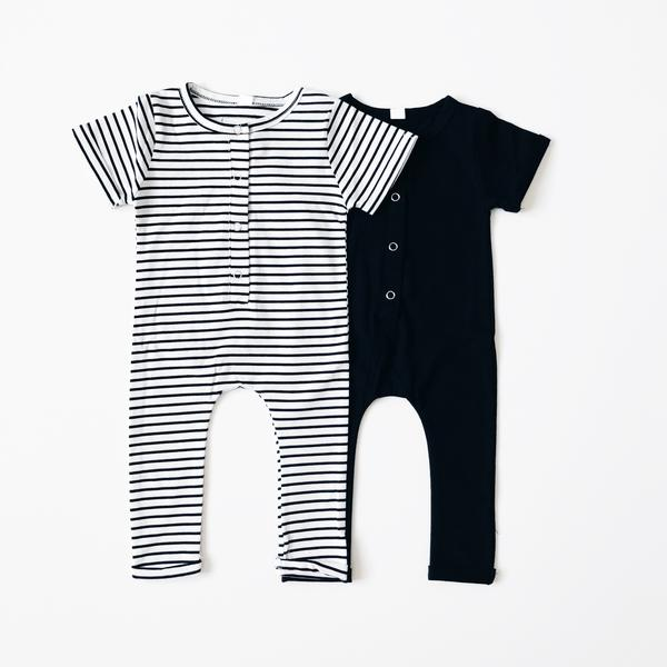 Short Sleeve Henley Romper - Stripe-Rompers-Orcas Lucille-sawyer + crew-Baby Clothing-Kids Clothes-Toddler Clothes