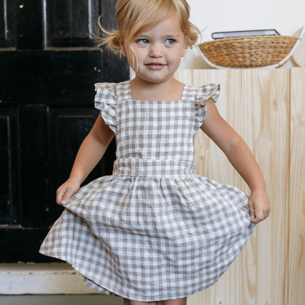 Mabel Ruffle Dress - Flax Gingham-Dresses-Fin & Vince-12-24 months-sawyer + crew-Baby Clothing-Kids Clothes-Toddler Clothes
