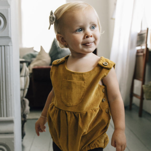 Corduroy Romper - Mustard-Rompers-Fin & Vince-sawyer + crew-Baby Clothing-Kids Clothes-Toddler Clothes