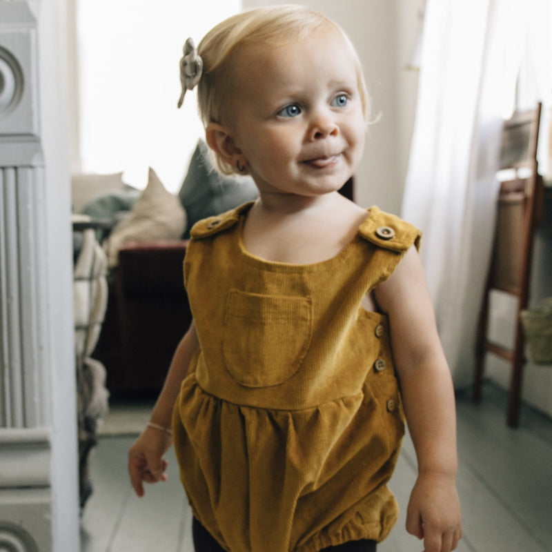 Corduroy Romper - Mustard-Rompers-Fin & Vince-online baby shop- online boutique for kids-sawyer + crew-Baby Clothing-Kids Clothes-Toddler Clothes- cute newborn clothing-clothing for babies- mommy and me-twinning tees-graphic tees for moms and kids-online boutique for babies-boho clothes for kids-online store for kids-organic clothing for babies