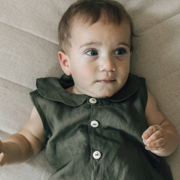 Collar Jumpsuit - Herb-Rompers-Fin & Vince-sawyer + crew-Baby Clothing-Kids Clothes-Toddler Clothes
