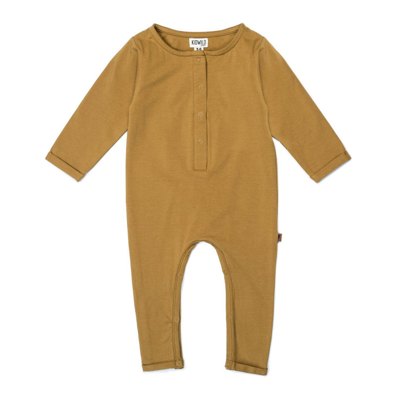 Organic Henley Bodysuit- Ochre-Rompers-KidWild Organics-3-6 months-sawyer + crew-Baby Clothing-Kids Clothes-Toddler Clothes