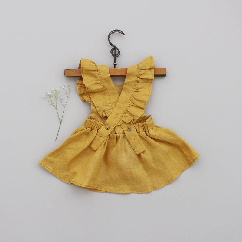 Mabel Ruffle Dress - Marigold-Dresses-Fin & Vince-online baby shop- online boutique for kids-sawyer + crew-Baby Clothing-Kids Clothes-Toddler Clothes- cute newborn clothing-clothing for babies- mommy and me-twinning tees-graphic tees for moms and kids-online boutique for babies-boho clothes for kids-online store for kids-organic clothing for babies