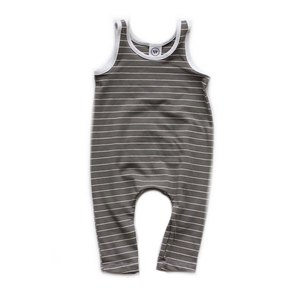 Charcoal Stripe Romper-Rompers-Rad Revolution Kids-18-24m-online baby shop- online boutique for kids-sawyer + crew-Baby Clothing-Kids Clothes-Toddler Clothes- cute newborn clothing-clothing for babies- mommy and me-twinning tees-graphic tees for moms and kids-online boutique for babies-boho clothes for kids-online store for kids-organic clothing for babies
