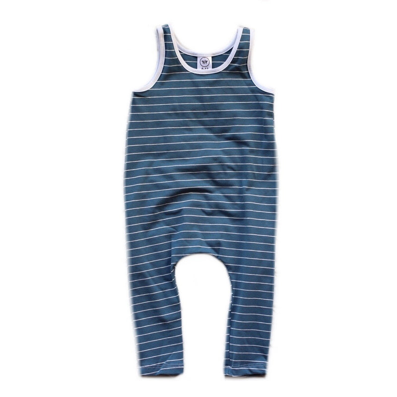 Classic Blue Stripe Romper-Rompers-Rad Revolution Kids-18-24m-online baby shop- online boutique for kids-sawyer + crew-Baby Clothing-Kids Clothes-Toddler Clothes- cute newborn clothing-clothing for babies- mommy and me-twinning tees-graphic tees for moms and kids-online boutique for babies-boho clothes for kids-online store for kids-organic clothing for babies