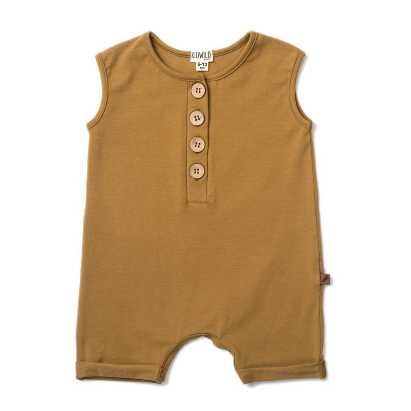 Organic Sleeveless Romper - Ochre-Rompers-KidWild Organics-3-6 months-sawyer + crew-Baby Clothing-Kids Clothes-Toddler Clothes