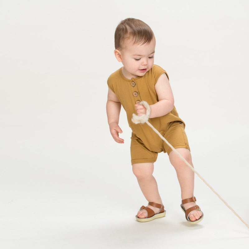 Organic Sleeveless Romper - Ochre-Rompers-KidWild Organics-sawyer + crew-Baby Clothing-Kids Clothes-Toddler Clothes