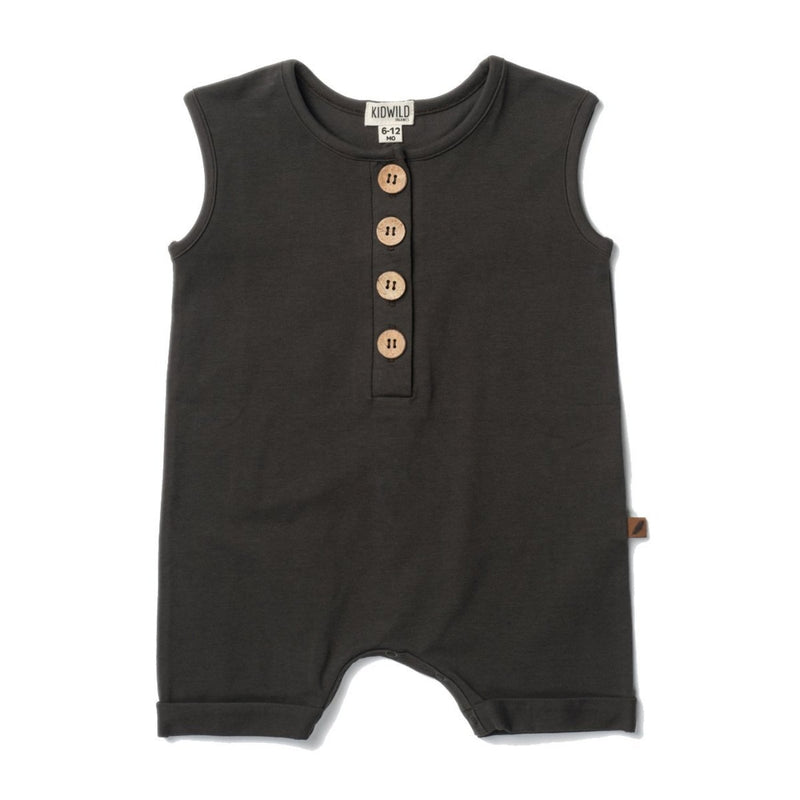 Organic Sleeveless Romper - Slate-Rompers-KidWild Organics-18-24 months-sawyer + crew-Baby Clothing-Kids Clothes-Toddler Clothes