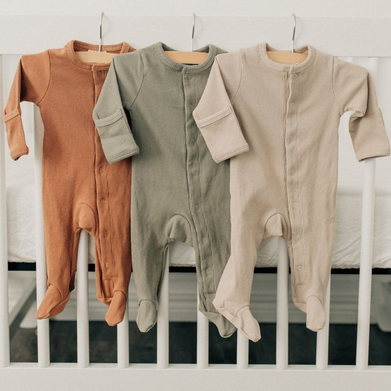 Ribbed Footed One Piece - Sagebrush-Rompers-Mebie Baby-sawyer + crew-Baby Clothing-Kids Clothes-Toddler Clothes