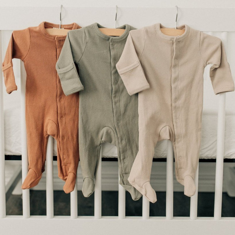 Ribbed Footed One Piece - Sand-Rompers-Mebie Baby-online baby shop- online boutique for kids-sawyer + crew-Baby Clothing-Kids Clothes-Toddler Clothes- cute newborn clothing-clothing for babies- mommy and me-twinning tees-graphic tees for moms and kids-online boutique for babies-boho clothes for kids-online store for kids-organic clothing for babies