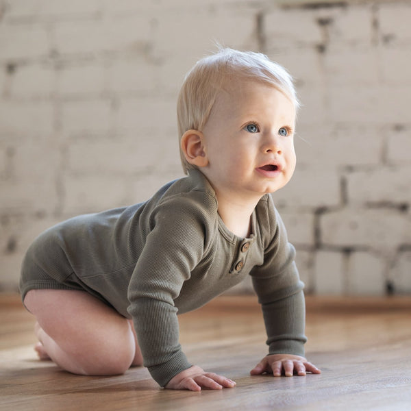 Organic Vintage Bodysuit L/S - Moss-Onesies-KidWild Organics-sawyer + crew-Baby Clothing-Kids Clothes-Toddler Clothes