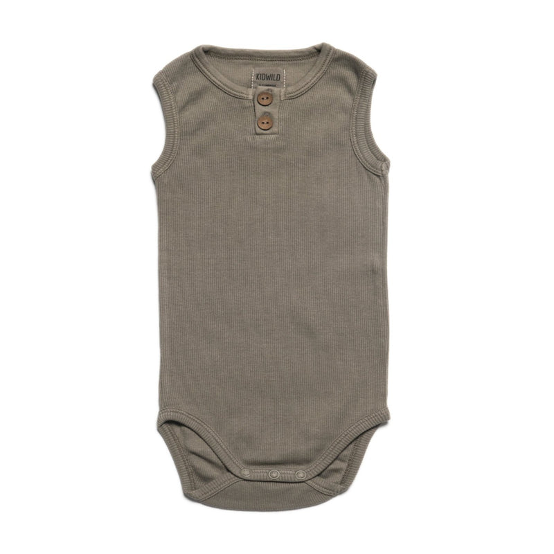 Organic Vintage Bodysuit S/L - Moss-Onesies-KidWild Organics-3-6 months-sawyer + crew-Baby Clothing-Kids Clothes-Toddler Clothes