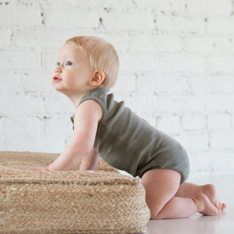 Organic Vintage Bodysuit S/L - Moss-Onesies-KidWild Organics-sawyer + crew-Baby Clothing-Kids Clothes-Toddler Clothes