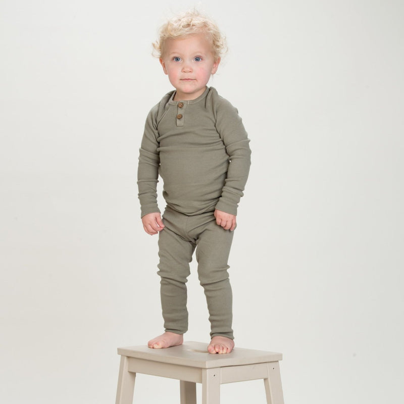 Organic Vintage Leggings - Moss-Bottoms-KidWild Organics-sawyer + crew-Baby Clothing-Kids Clothes-Toddler Clothes