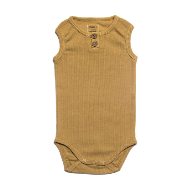 Organic Vintage Bodysuit S/L - Ochre-Onesies-KidWild Organics-3-6 months-sawyer + crew-Baby Clothing-Kids Clothes-Toddler Clothes