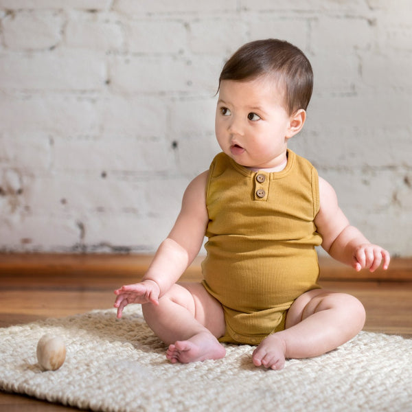 Organic Vintage Bodysuit S/L - Ochre-Onesies-KidWild Organics-sawyer + crew-Baby Clothing-Kids Clothes-Toddler Clothes