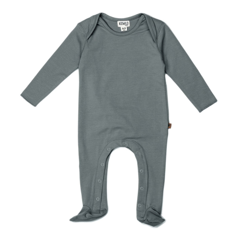 Organic Footed Jumpsuit - Petrol-Rompers-KidWild Organics-3-6 months-online baby shop- online boutique for kids-sawyer + crew-Baby Clothing-Kids Clothes-Toddler Clothes- cute newborn clothing-clothing for babies- mommy and me-twinning tees-graphic tees for moms and kids-online boutique for babies-boho clothes for kids-online store for kids-organic clothing for babies