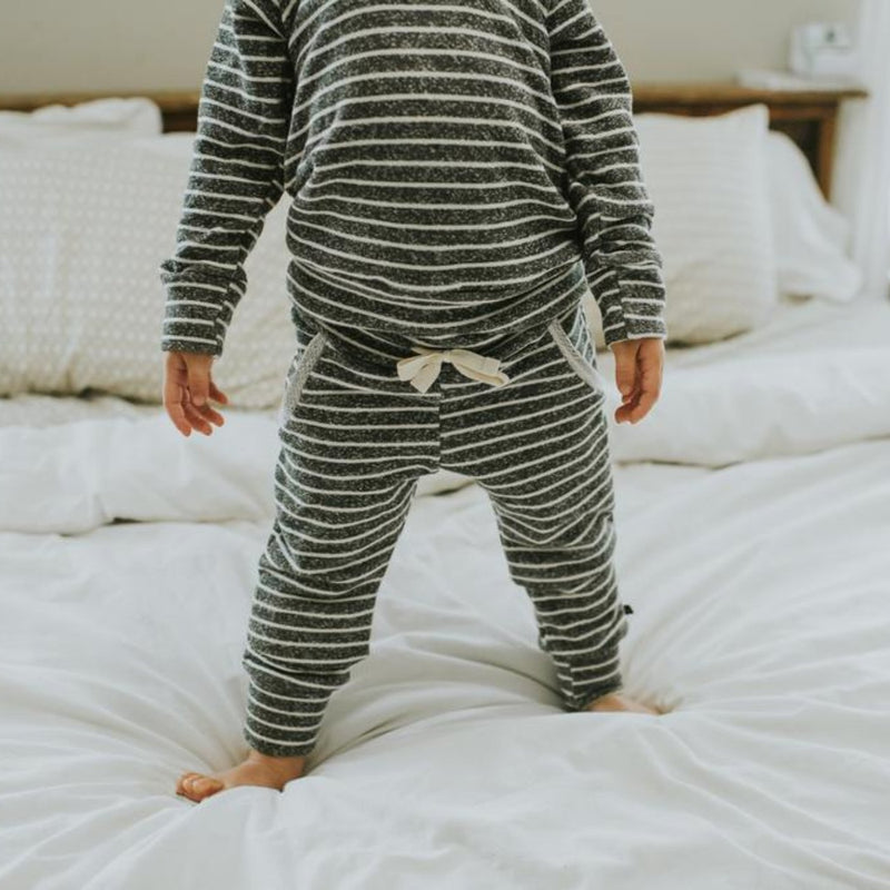 Jogger Sweats - Heather Charcoal Stripes-Bottoms-Babysprouts-sawyer + crew-Baby Clothing-Kids Clothes-Toddler Clothes