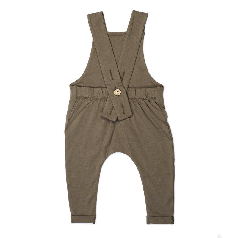 Organic Suspender Pants - Bark-Rompers-KidWild Organics-sawyer + crew-Baby Clothing-Kids Clothes-Toddler Clothes