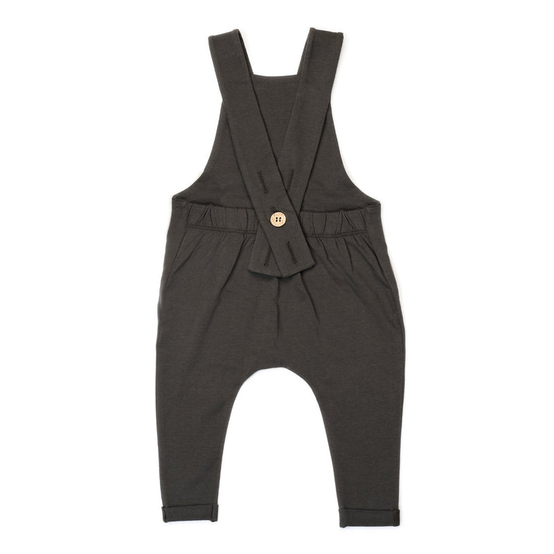 Organic Suspender Pants - Slate-Rompers-KidWild Organics-sawyer + crew-Baby Clothing-Kids Clothes-Toddler Clothes