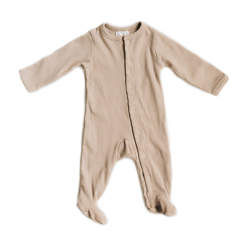 Ribbed Footed One Piece - Sand-Rompers-Mebie Baby-0-3 months-online baby shop- online boutique for kids-sawyer + crew-Baby Clothing-Kids Clothes-Toddler Clothes- cute newborn clothing-clothing for babies- mommy and me-twinning tees-graphic tees for moms and kids-online boutique for babies-boho clothes for kids-online store for kids-organic clothing for babies