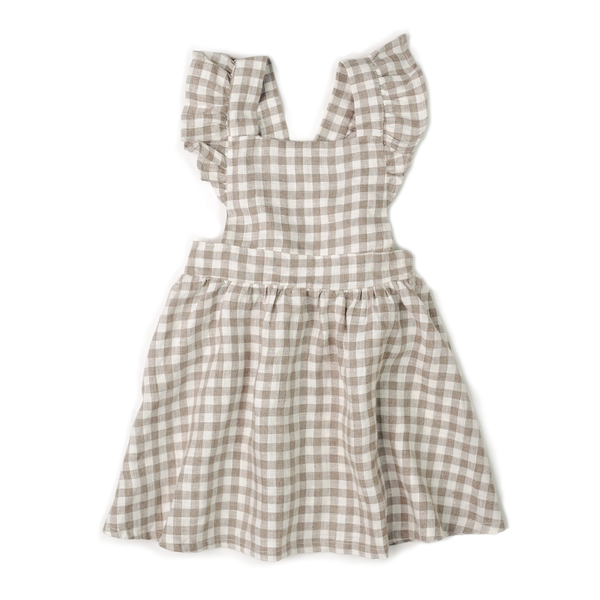 Mabel Ruffle Dress - Flax Gingham-Dresses-Fin & Vince-12-24 months-online baby shop- online boutique for kids-sawyer + crew-Baby Clothing-Kids Clothes-Toddler Clothes- cute newborn clothing-clothing for babies- mommy and me-twinning tees-graphic tees for moms and kids-online boutique for babies-boho clothes for kids-online store for kids-organic clothing for babies