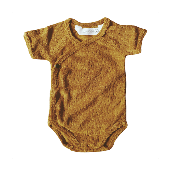 Kimono Terry Bodysuit - Gold-Onesies-Susukoshi-NB-online baby shop- online boutique for kids-sawyer + crew-Baby Clothing-Kids Clothes-Toddler Clothes- cute newborn clothing-clothing for babies- mommy and me-twinning tees-graphic tees for moms and kids-online boutique for babies-boho clothes for kids-online store for kids-organic clothing for babies