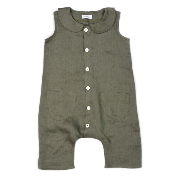 Collar Jumpsuit - Herb-Rompers-Fin & Vince-12-24 months-online baby shop- online boutique for kids-sawyer + crew-Baby Clothing-Kids Clothes-Toddler Clothes- cute newborn clothing-clothing for babies- mommy and me-twinning tees-graphic tees for moms and kids-online boutique for babies-boho clothes for kids-online store for kids-organic clothing for babies
