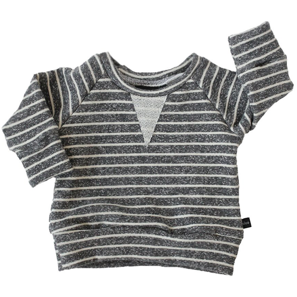 Crew Sweatshirt - Heather Charcoal Stripes-Tops-Babysprouts-18-24 months-sawyer + crew-Baby Clothing-Kids Clothes-Toddler Clothes