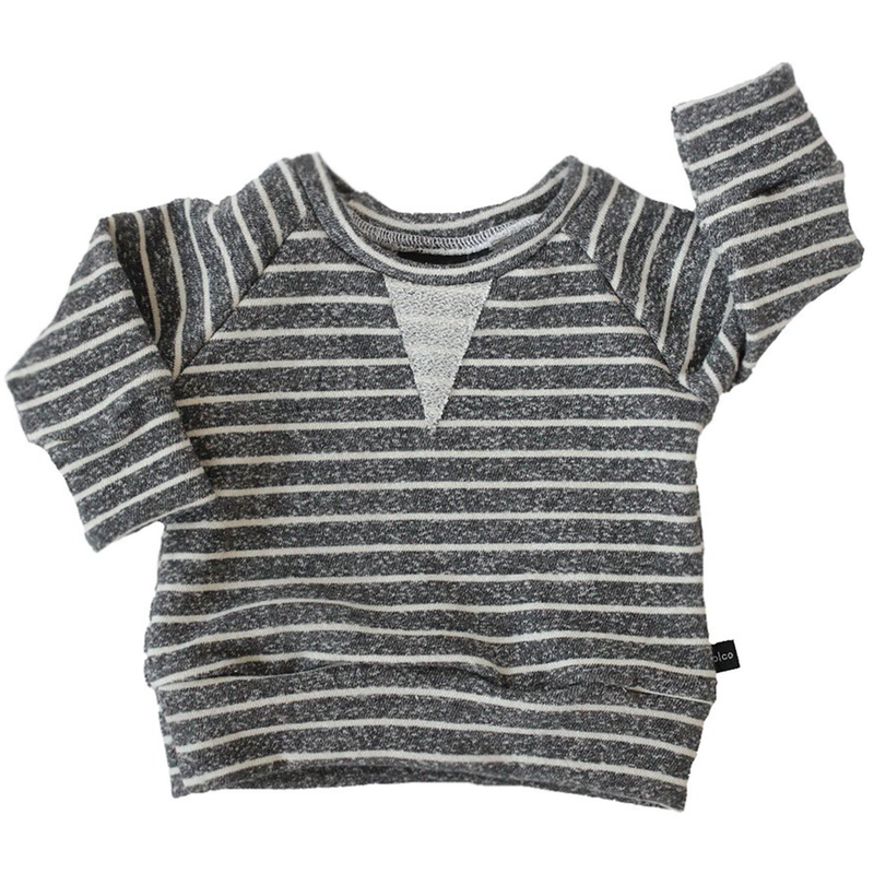 Crew Sweatshirt - Heather Charcoal Stripes-Tops-Babysprouts-18-24 months-online baby shop- online boutique for kids-sawyer + crew-Baby Clothing-Kids Clothes-Toddler Clothes- cute newborn clothing-clothing for babies- mommy and me-twinning tees-graphic tees for moms and kids-online boutique for babies-boho clothes for kids-online store for kids-organic clothing for babies