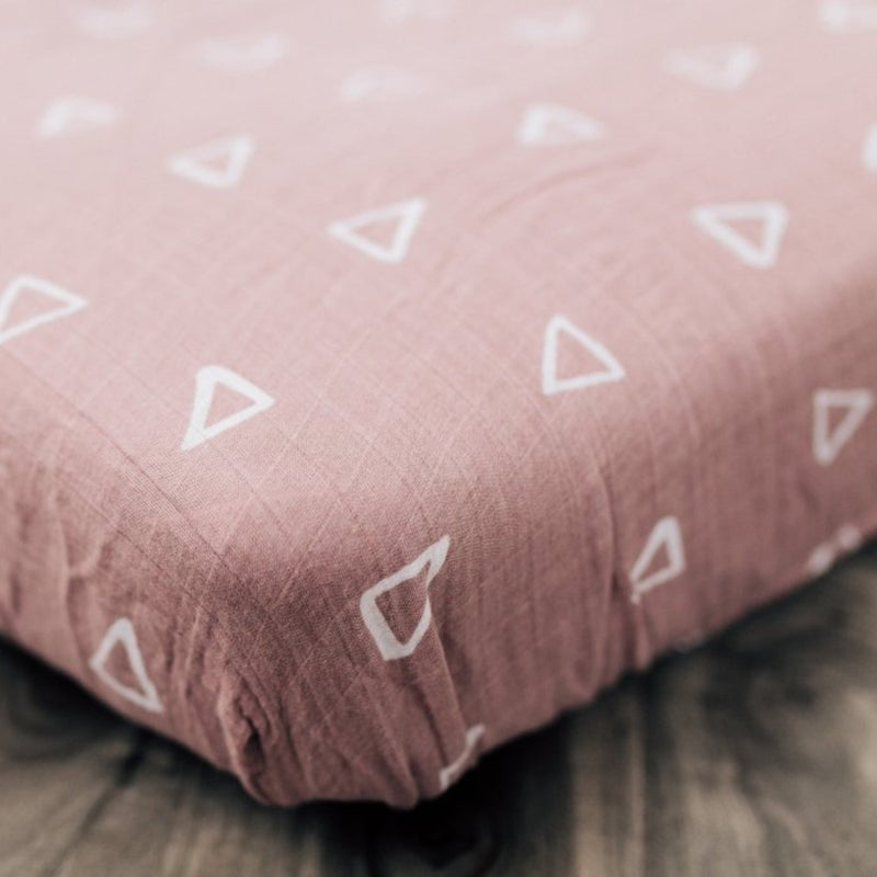 Muslin Swaddle + Crib Sheet Set - Blush Triangle-Swaddles-Mebie Baby-online baby shop- online boutique for kids-sawyer + crew-Baby Clothing-Kids Clothes-Toddler Clothes- cute newborn clothing-clothing for babies- mommy and me-twinning tees-graphic tees for moms and kids-online boutique for babies-boho clothes for kids-online store for kids-organic clothing for babies