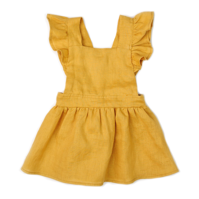 Mabel Ruffle Dress - Marigold-Dresses-Fin & Vince-12-24 months-online baby shop- online boutique for kids-sawyer + crew-Baby Clothing-Kids Clothes-Toddler Clothes- cute newborn clothing-clothing for babies- mommy and me-twinning tees-graphic tees for moms and kids-online boutique for babies-boho clothes for kids-online store for kids-organic clothing for babies