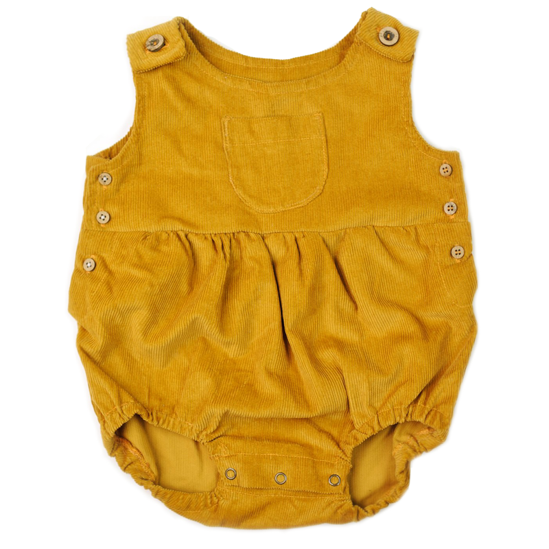 Corduroy Romper - Mustard-Rompers-Fin & Vince-6-12 months-online baby shop- online boutique for kids-sawyer + crew-Baby Clothing-Kids Clothes-Toddler Clothes- cute newborn clothing-clothing for babies- mommy and me-twinning tees-graphic tees for moms and kids-online boutique for babies-boho clothes for kids-online store for kids-organic clothing for babies