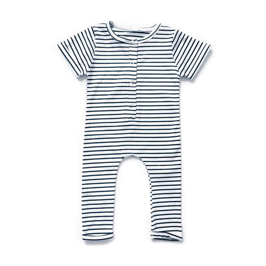 Short Sleeve Henley Romper - Stripe-Rompers-Orcas Lucille-9 months-sawyer + crew-Baby Clothing-Kids Clothes-Toddler Clothes