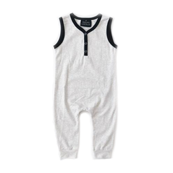 Sleeveless Henley Romper - Heather Grey-Rompers-Orcas Lucille-3-6 months-sawyer + crew-Baby Clothing-Kids Clothes-Toddler Clothes