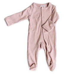 Ribbed Footed One Piece - Petal pink-Rompers-Mebie Baby-online baby shop- online boutique for kids-sawyer + crew-Baby Clothing-Kids Clothes-Toddler Clothes- cute newborn clothing-clothing for babies- mommy and me-twinning tees-graphic tees for moms and kids-online boutique for babies-boho clothes for kids-online store for kids-organic clothing for babies