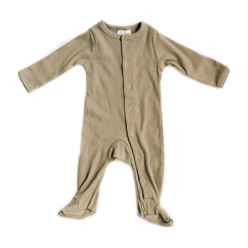 Ribbed Footed One Piece - Sagebrush-Rompers-Mebie Baby-0-3 months-sawyer + crew-Baby Clothing-Kids Clothes-Toddler Clothes
