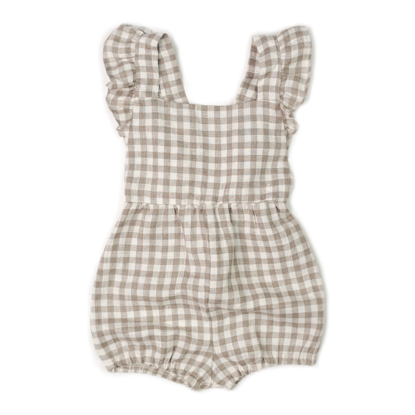 Ruffle Playsuit - Flax Gingham-Rompers-Fin & Vince-4-5 years-sawyer + crew-Baby Clothing-Kids Clothes-Toddler Clothes