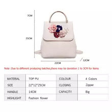 PU Leather Women Backpack Female Style Trend Three-dimensional Flower Shoulder Bag Women's Backpack(Beige)
