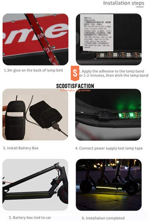 LEDS rows alloy bar for Xiaomi M365/ 1S/ ESSENTIAL/ PRO/ PRO2/ Electric scooter