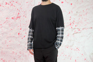 Black cotton t shirt with removable green shirt sleeve