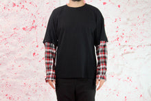 Load image into Gallery viewer, Black cotton t shirt with removable red shirt sleeve