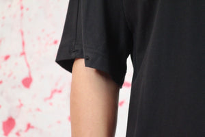 Black cotton t shirt with removable red shirt sleeve