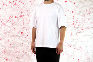 White t shirt with blue shirt sleeves